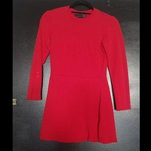Red Zara Long Sleeved Sweatshirt Mini Dress